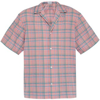 Deveaux - Checked Short Sleeved Crepe Shirt - Mens - Pink Multi