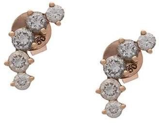 Anita Ko 18kt rose gold Arc diamond stud earrings
