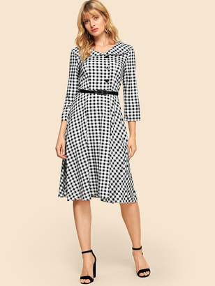 Shein 50s Gingham Belted Dress