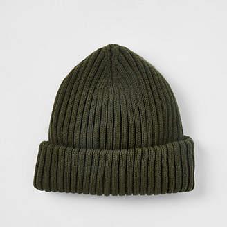 River Island Khaki green fisherman knit beanie hat