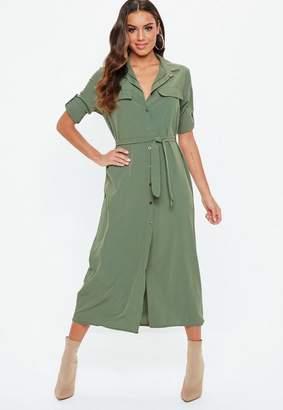 Missguided Khaki Long Sleeve Utility Shirt Dress