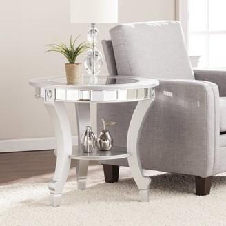 Southern Enterprises Ladislas Glam Mirrored Round End Table, Matte Silver