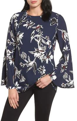 Halogen Bow Back Print Flare Sleeve Tunic
