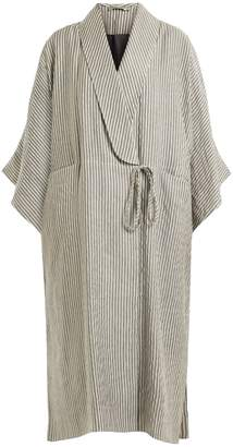 THREE GRACES LONDON Constance striped cotton-blend robe