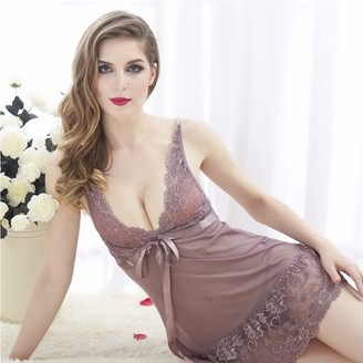 035aaecbbd9f at Walmart · Acappella Sexy Sleepwear with Full Slips Mesh Floral Lace  Satin Bow Cameo Medium