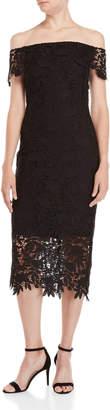 Shoshanna Madison Lace Off-the-Shoulder Midi Dress