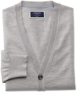 Charles Tyrwhitt Silver Merino Wool Cardigan Size XXL