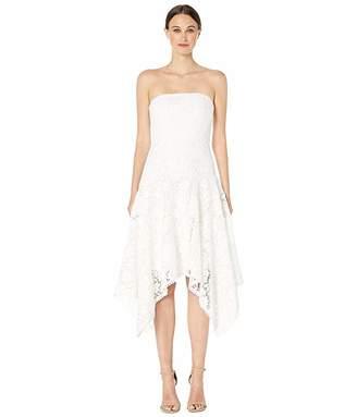 ML Monique Lhuillier Floral Lace Calf Length Asymmetrical Dress