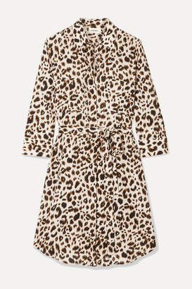 L'Agence Stella Belted Leopard-print Silk Mini Dress - Leopard print