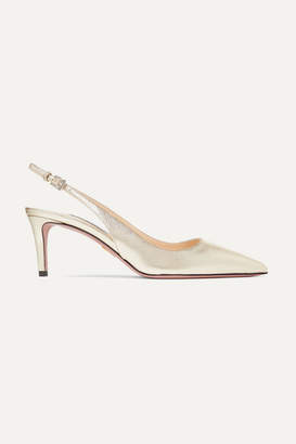 Prada Metallic Textured-leather Slingback Pumps - Gold