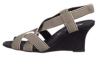 Manolo Blahnik Peep-Toe Woven Wedge Sandals black Peep-Toe Woven Wedge Sandals