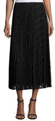 Lafayette 148 New York Dorothy Pleated Devore Midi Skirt, Black $448 thestylecure.com