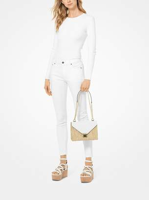 eb5ae24bc4bb MICHAEL Michael Kors Whitney Large Raffia and Leather Convertible Shoulder  Bag