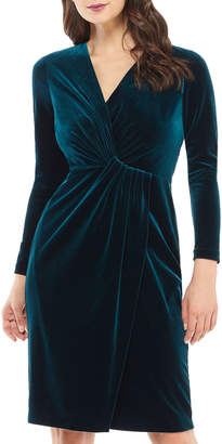 Maggy London Knotted Long-Sleeve Velvet Dress