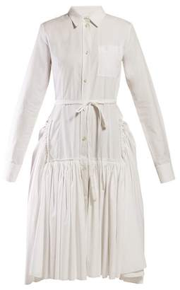 Marni Tie Waist Cotton Poplin Shirtdress - Womens - White