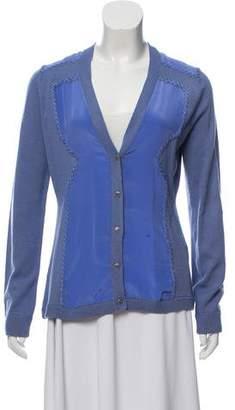 Lela Rose Silk-Blend Wool Cardigan