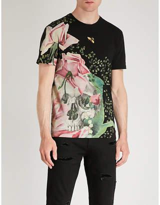 Alexander McQueen Skull and rose-print cotton-jersey T-shirt