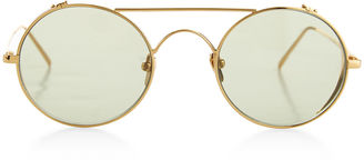 Gold & Green Tinted Round Sunglasses