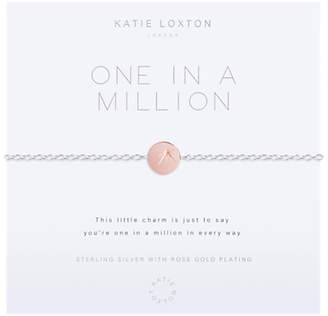 Charm & Chain Katie Loxton 1 In A Million Round Charm Chain Bracelet, Silver/Rose Gold