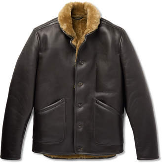YMC Brainticket Shearling-Lined Leather Jacket