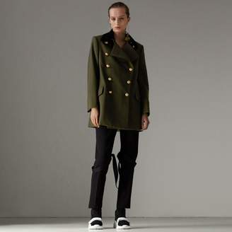 Burberry Velvet Collar Wool Military Coat , Size: 04