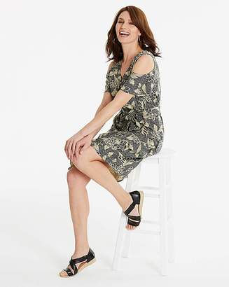 Anthology Navy Print Wrap Linen Mix Dress