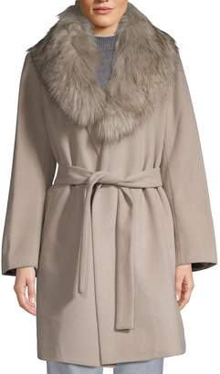 T Tahari Flora Faux Fur-Collar Wrap Coat