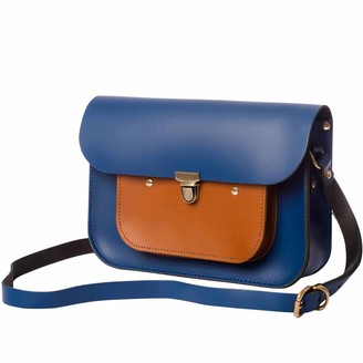 N'damus London Navy & Tan Leather Mini Pocket Satchel
