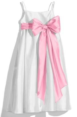 Us Angels White Sleeveless Empire Waist Taffeta Dress