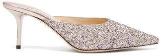 Jimmy Choo Rav 65 Glitter And Leather Mules - Womens - Silver Multi