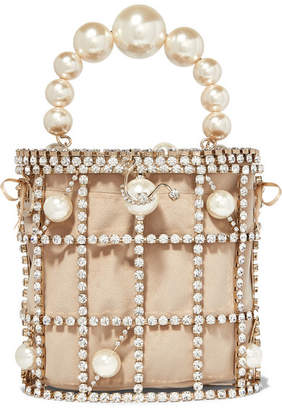 Rosantica Olimpia Crystal And Faux Pearl-embellished Gold-tone And Velvet Tote