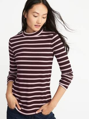 Old Navy Slim-Fit Rib-Knit Mock-Neck Tee for Women