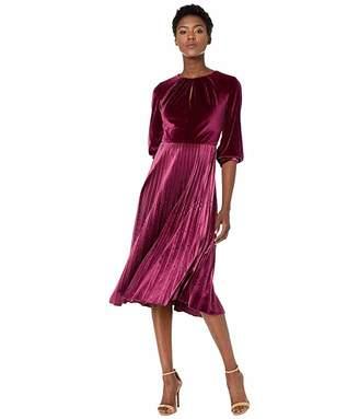 Maggy London Solid Velvet Pleated Dress