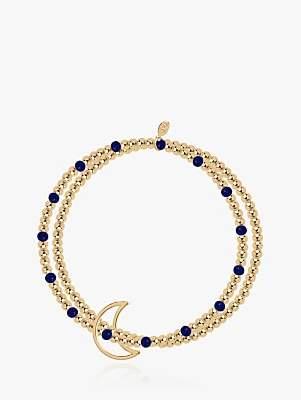 Lapis Joma Jewellery Beaded Lazuli Crescent Moon Bracelet, Gold