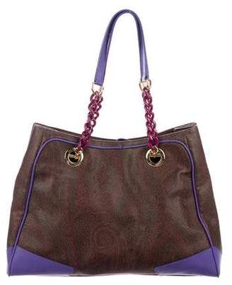 Etro Leather-Trimmed Paisley Print Tote