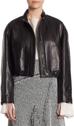 3.1 Phillip Lim Cropped Leather Bomber Jacket