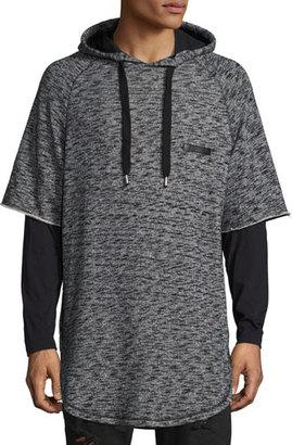 PRPS Mars Space-Dye Short-Sleeve Hoodie, Gray/Black $250 thestylecure.com