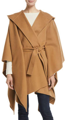 Theory Hooded New Divide Wool-Cashmere Poncho Jacket w/ Self-Belt