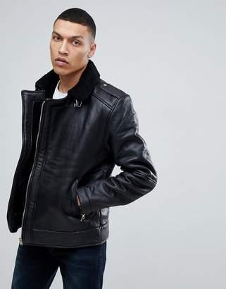 Bellfield Leather Aviator Jacket With Fleece Lining