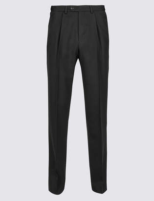 M&S CollectionMarks and Spencer Tailored Wool Blend Single Pleated Trousers