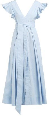 Kalita New Poet By The Sea Ruffled Cotton Dress - Womens - Light Blue