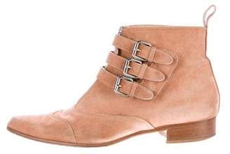 Tabitha Simmons Suede Buckle-Accented Ankle Boots