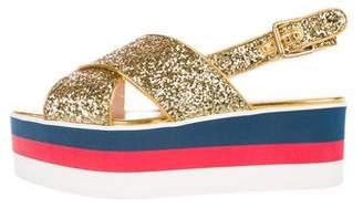 Gucci 2017 Glitter Flatform Sandals