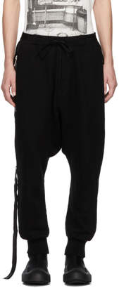 Unravel Black Terry Brushed Dropped Lounge Pants