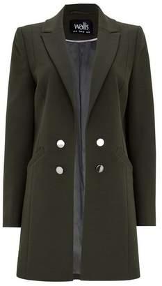 Wallis Khaki Ribbed Double Breasted Jacket