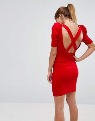 Asos DESIGN Mini Bodycon Dress In Premium Rib With Shoulder Detail