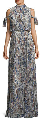 Mikael Aghal Cold-Shoulder Floral Maxi Dress