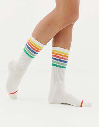 Monki socks with rainbow detail in white