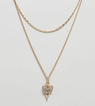 Asos DESIGN Curve multirow necklace with vintage style cherub pendant in gold
