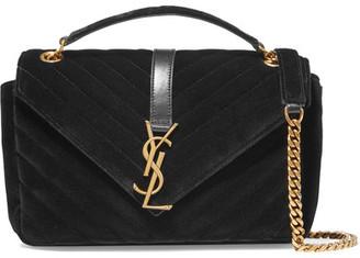 Saint Laurent - Monogramme Medium Quilted Velvet Shoulder Bag - Black $1,990 thestylecure.com